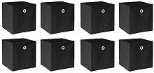 BOJU 8 PCS Foldable Storage Cubes Boxes Black for