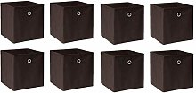 BOJU 8 PCS Foldable Storage Cubes Boxes Brown for