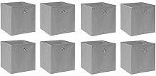 BOJU 8 PCS Foldable Storage Cubes Boxes Grey for