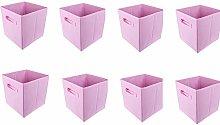 BOJU 8pcs Foldable Canvas Pink Storage Box for