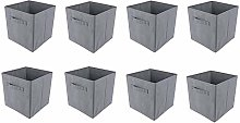 BOJU 8pcs Grey Foldable Canvas Storage Box for