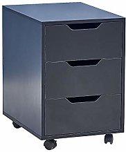 BOJU Black Mobile File Cabinet Small Under Desk
