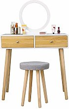 BOJU Compact Wooden Dressing Table with Stool Set