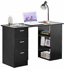 BOJU Modern Black Computer Desk Table with 3