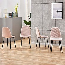 BOJU Occasional Pink Velvet Dining Chairs Set of 4
