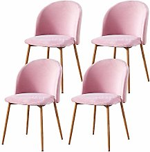 BOJU Pink Set of 4 Velvet Dining Room Chairs for