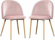 BOJU Set of 2 Pink Velvet Dining Room Chairs for