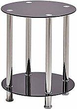 BOJU Small Sofa Side Table Round Black Glass with
