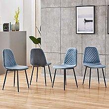 BOJU Velvet Upholstered Dining Room Chairs Blue