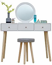 BOJU White 3 Drawers Dressing Table with Mirror