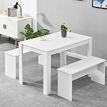BOJU White Kitchen Dining Table and 2 Benches Set