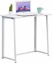 BOJU White Small Folding Computer Desk Table 80CM