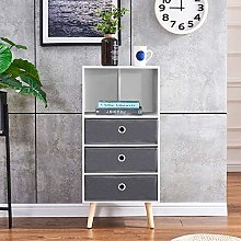 BOJU White Tall Unit Storage Side Cabinet with 4