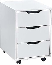 BOJU White Wood Mobile File Cabinet with 3 Storage