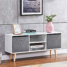 BOJU White Wood TV Stand Cabinet for 42 inches