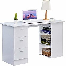 BOJU Wood White Computer Desk Table with 3 Drawers