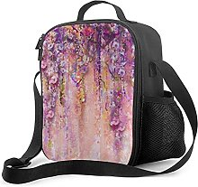 Bokueay Insulated Lunch Box,Pink Purple Flowers