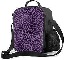 Bokueay Insulated Lunch Box,Royal Purple Leopard