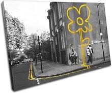 Bold Bloc Design Yellow Flower Graffiti Banksy