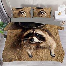 BOLIMAO 3 Pieces Cute Raccoon Baby Duvet Cover Set