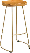 Bolley Pine Wood Gold Effect Leg Bar Stool