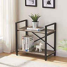BON AUGURE Small Bookshelf, 2-TierIndustrial Low