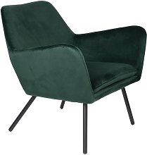 Bon Lounge armchair in green velvet