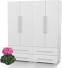 Bonamaison, Four Doors and Four Drawers Wardrobe,