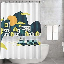 Bonamaison Shower Curtain, Polyester, Multicolor,