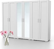 Bonamaison, Six Doors Mirrored Wardrobe, Wardrobe,