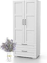 Bonamaison, Two Doors Two Drawers Wardrobe,