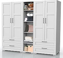 Bonamaison, Wardrobe with Four Doors, Four Drawers