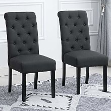 BonChoice 2Pcs Button Tufted Dining Chairs Linen
