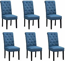 BonChoice Modern Blue Button Tufted Dining Chairs