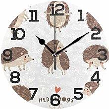BONIPE Cute Hedgehog Wall Clock Silent Non Ticking