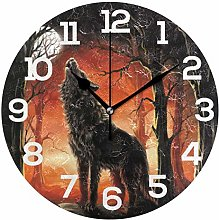 BONIPE Galaxy Sky Moon Wolf Roar Wall Clock Silent