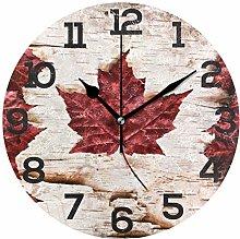 BONIPE Retro Canada Flag Marple Leaf Wall Clock