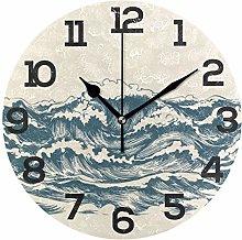 BONIPE Vintage Japanese Ocean Wave Wall Clock