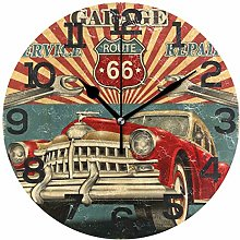 BONIPE Vintage Retro Garage Car Wall Clock Silent