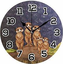 BONIPE Wall Clock Funny Cartoon Meerkats Standing