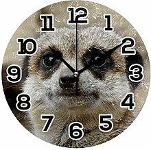 BONIPE Wall Clock Meerkat Funny Silent Non Ticking