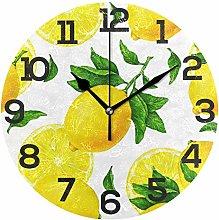 BONIPE Yellow Lemon Pattern Wall Clock Silent Non