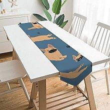BONRI Flowers Pattern Navy Blue Table Runner