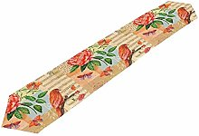 BONRI Table Runner Vintage Flower Bird Tablecloth