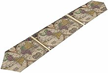 BONRI Table Runner Vintage World Map Tablecloth