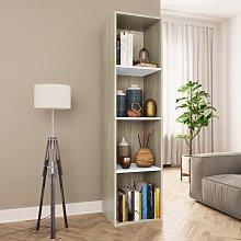 Book Cabinet/TV Cabinet White and Sonoma Oak