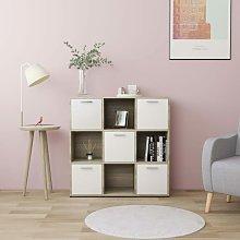 Book Cabinet White and Sonoma Oak 90x30x90 cm