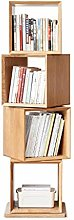 Bookcase Solid Wood Bookshelf Home Oak Rotating