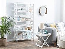 Bookcase White Wood Veneer 4 Tier Ladder Shelves