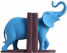 Bookshelf Bookends Blue Cute Elephant Nonskid